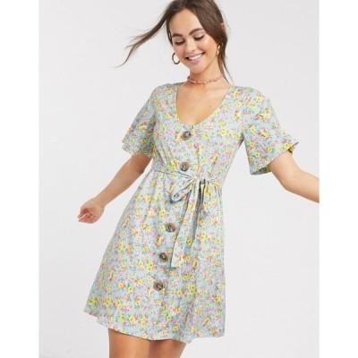 エイソス レディース ワンピース トップス ASOS DESIGN button through tea dress in ditsy print Ditsy print
