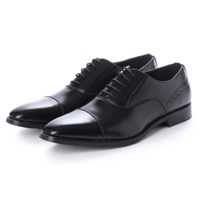 ジーノ Zeeno ビジネスシューズ メンズ 革靴 ロングノーズ 防滑 ストレートチップ レースアップ 内羽根 (Black)