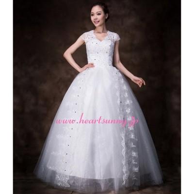ウェディングドレス 透明感レースVネック ビーズ&ダイヤ飾り E178