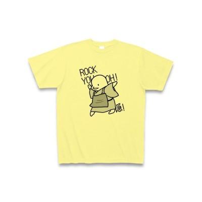 ろっきゅー(黒) Tシャツ(ライトイエロー)