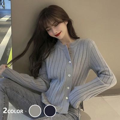 2020秋韓国ファッション長袖ニットシャツ/修身長袖ラウンドネックニットシャツ
