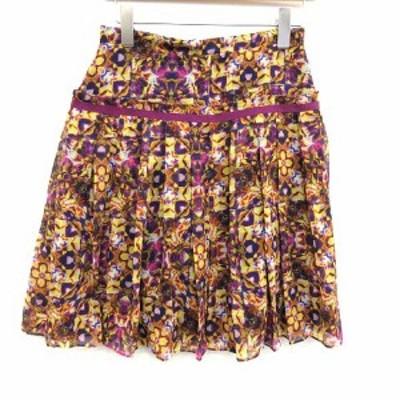 【中古】ポールスミス ブラック レーベル スカート フレア シフォン ひざ丈 総柄 40 紫 黄色 イエロー サンプル品