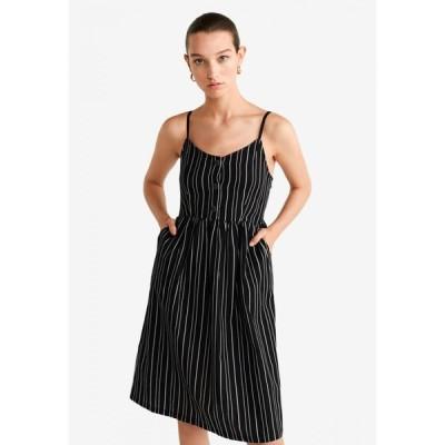 マンゴ Mango レディース パーティードレス ワンピース・ドレス Striped Cotton Dress Black