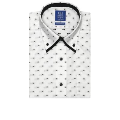 ワイシャツ 半袖 形態安定 ボタンダウン ダブルカラー 綿100% 白×黒小紋柄・カットドビー 新体型