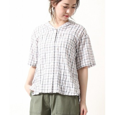【コーエン】 シャーリングチェックセーラーシャツ(チェックシャツ) レディース SHERBET FREE coen
