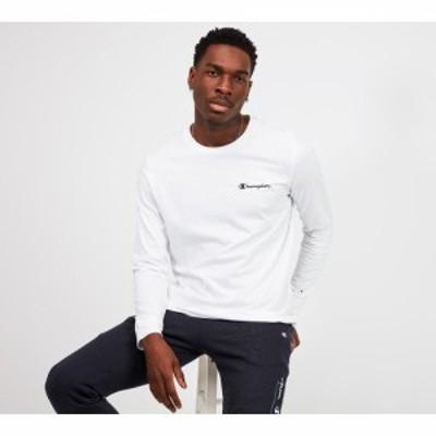 チャンピオン Champion メンズ 長袖Tシャツ トップス long sleeved logo t-shirt White