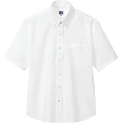 (アイトス)AITOZ レディース オックスボタンダウン半袖シャツ 【形態安定】 #AZ-7873 ホワイト S