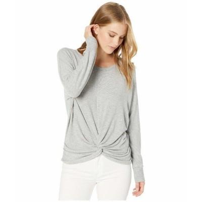 マイケルスターズ パーカー・スウェットシャツ アウター レディース Madison Brushed Jersey Alexa Dolman Sleeve Top with Twist Heather Grey