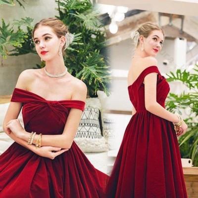 レディース ドレス 結婚式 パーティー 演奏会 レッド 袖なし ビスチェタイプ オフショルダー Aライン 透け感 ロングドレス 二次会 大きいサイズ