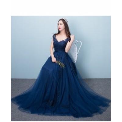 Vネックロングドレス 演奏会 パーティードレス 結婚式 ウェディングドレス お呼ばれ 発表会 フォーマル 二次会 ドレス 舞台