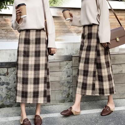 高レビュー★チェックスカート★ロングスカート/Aライン/ハイウエスト/スカート/送料無料