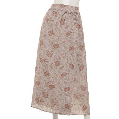 ドット花柄ラップスカート