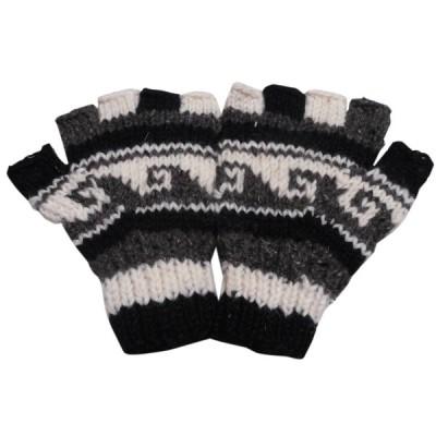 手袋 アジアン衣料 ネパール手編み指なし手袋37  クリックポスト選択 送料200円