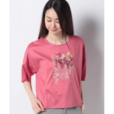 (VICE VERSA/バイス バーサ)【洗える】フラワー刺繍 コットンカットソー/レディース ピンク