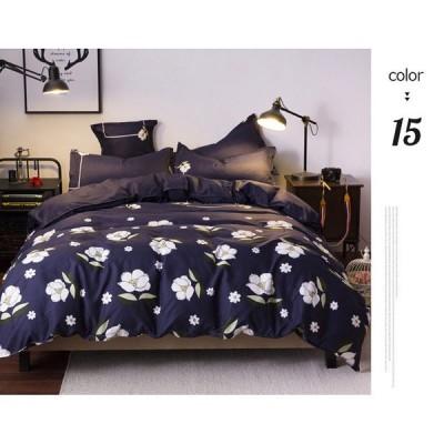 布団カバーセット マクラカバーベッドシーツ ダブル 寝具セット 二人 布団カバー まくらカバー ベッドシーツ 二人 ねこ柄 柔らかい 寝心地いい 花柄 きれい 4サ