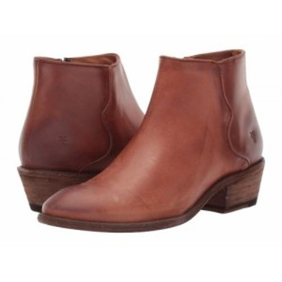 Frye フライ レディース 女性用 シューズ 靴 ブーツ アンクル ショートブーツ Carson Piping Bootie Cognac Waxed Pull【送料無料】
