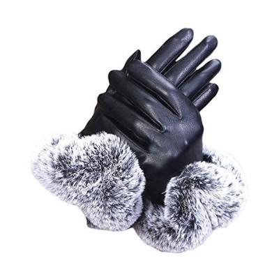 morytrade 手袋 レディース てぶくろ スマホ 対応 グローブ 裏起毛 女性 レザー ファー (黒)