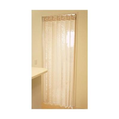 アコーディオン カーテン 間仕切り のれん 目隠し 遮熱 冷気遮断 アラベスク 150×200cm丈 (アイボリー) (アイボリー)