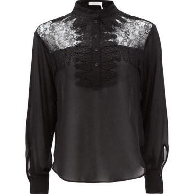 クロエ See By Chloe レディース ブラウス・シャツ トップス Lace-yoke georgette blouse Black