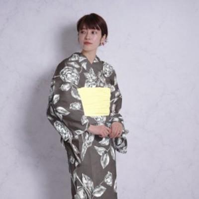 浴衣 セット レディース 浴衣 3点セット(浴衣/帯/下駄)茶色 ブラウン 黒 白 花 ニコアンティーク Nico Antique フリーサイズ