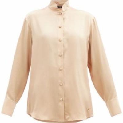 バルマン Balmain レディース ブラウス・シャツ トップス Oversized logo-plaque silk-satin blouse Beige