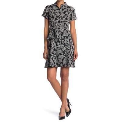 ロンドンタイムス レディース ワンピース トップス Floral Tie Waist Linen Blend Shirt Dress BLK/WHITE
