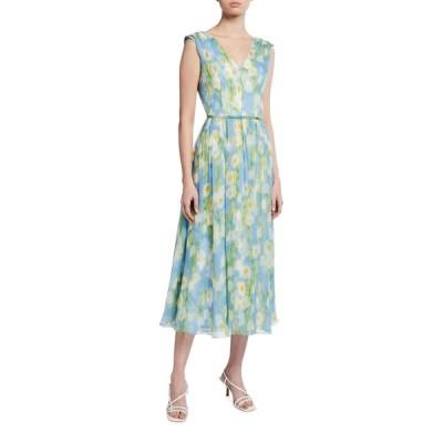キャロライナヘレラ レディース ワンピース トップス Floral Print Silk Midi Dress