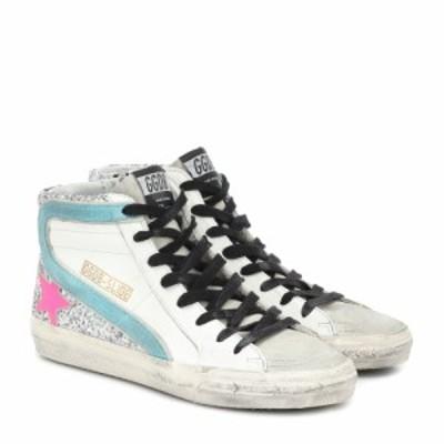 ゴールデン グース Golden Goose レディース スニーカー シューズ・靴 Slide leather sneakers White Leather-Silver Glitter-F