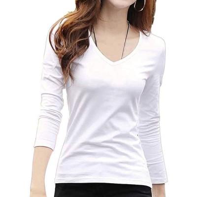 [コウサ] cousa カットソー 3色 Vネック 長袖 オフィス きれいめ ライン Tシャツ カジュアル (B01ホワイト(M))