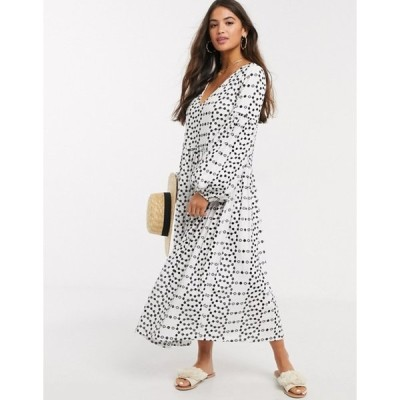 エイソス レディース ワンピース トップス ASOS DESIGN contrast stitch broderie smock midi dress in black and white
