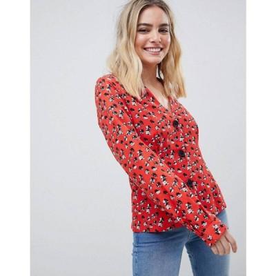 エイソス ASOS DESIGN レディース トップス v neck button through long sleeve top in floral print Multi