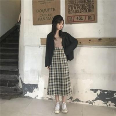 秋新作   ゆるい    ハイウエスト復古格子  フォークをあける    Aラインスカート    中長項     スカート 送料無料