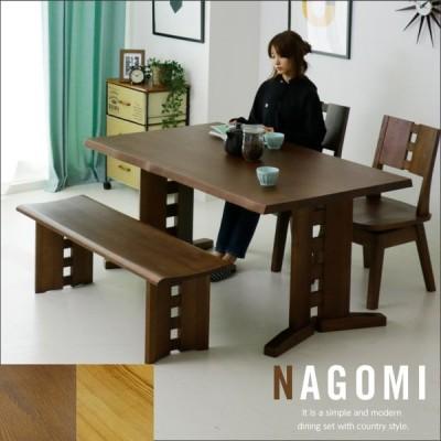 ダイニングテーブルセット 4人 4点 幅150 ベンチ エコ塗装 F☆☆☆☆ 和風 モダン 回転 チェア セール