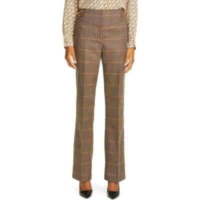 バーバリー BURBERRY レディース スキニー・スリム ボトムス・パンツ Lovisa Plaid Wool Blend Slim Pants Dark Brown Check