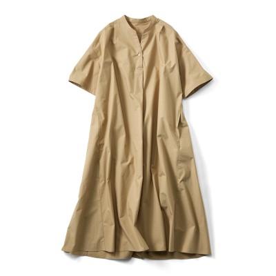 涼やかなのにきちんと見え! サクッと着られる お役立ちスキッパーワンピース〈ベージュ〉 リブ イン コンフォート フェリシモ FELISSIMO