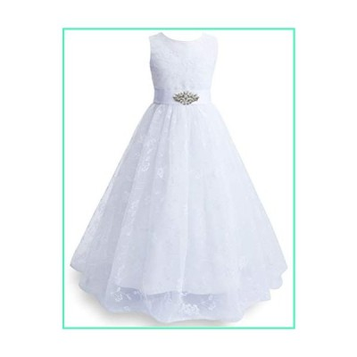 Fairybasic Ivory White Lace Flower Girl Dress for Wedding Vintage Floral Sleeveless Formal Gown with Belt, 4-5T並行輸入品