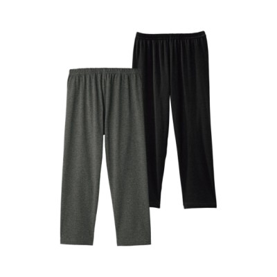 綿混7分丈レギンス2枚組(L~LL) (レギンス・スパッツ・オーバーパンツ)Leggings