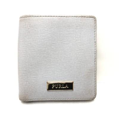 送料無料 フルラ FURLA 財布 二つ折り コンパクト ウォレット レザー 灰 グレー系 レディース