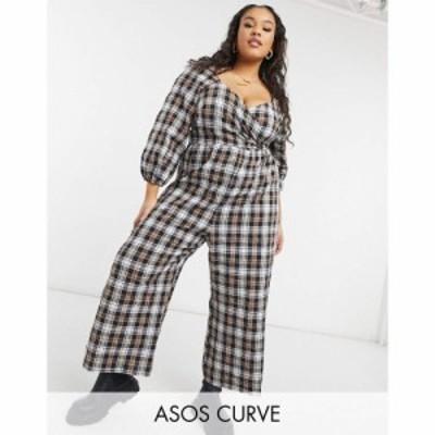 エイソス ASOS Curve レディース オールインワン ジャンプスーツ Asos Design Curve Wrap Crinkle Jumpsuit With Tie Sleeve In Check チ
