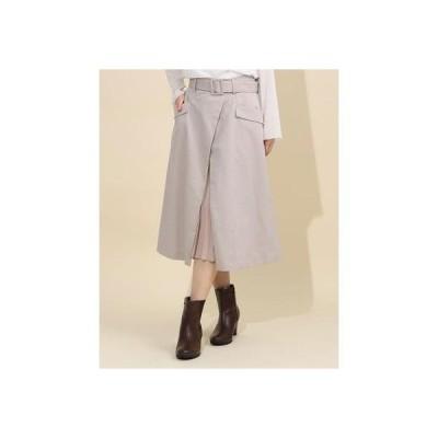 プリーツ切替スカート(0R10-08175) (グレージュ)