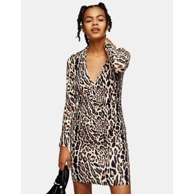 トップショップ ミディドレス レディース Topshop ruched front mini dress in leopard print エイソス ASOS マルチカラー