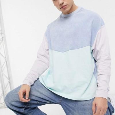 エイソス ASOS asos ASOSDESIGNシェブロンカラーブロックタオルの長袖特大Tシャツ トップス メンズ 男性 インポートブランド