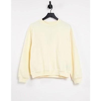 モンキ レディース シャツ トップス Monki Nana organic cotton sweatshirt in yellow