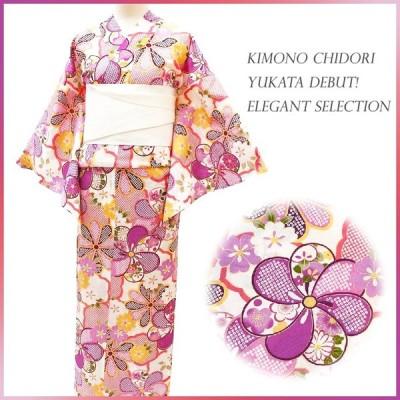 浴衣 レディース フリーサイズ 単品 新作 白地 ピンク色 紫色 花柄 綿100% 夏祭り 花火大会 レトロ 古典 大人 Mサイズ Lサイズ yu164-b