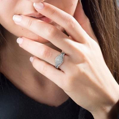 10k White Gold 1/2CT TDW Diamond Halo Engagement Ring Set by DZON for