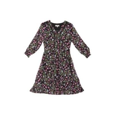 ナネットレポー レディース ワンピース トップス Floral Ruffled Dress BLKMUL1451