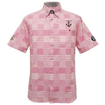 40%OFF 2020春夏 シナコバ パッチワーク 半袖ボタンダウンシャツ(ピンク)(M、L、LL) SH*0120124540960