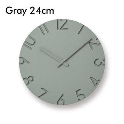 レムノス CARVED COLORED グレー 24cm カーヴド 壁掛け時計 Lemnos