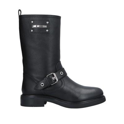 ラブ モスキーノ LOVE MOSCHINO ブーツ ブラック 37 牛革(カーフ) ブーツ