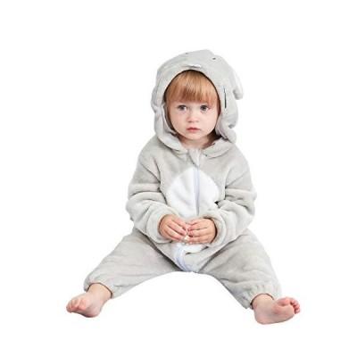 Mornyray ベビー服 着ぐるみ ロンパース カバーオール 動物 コスプレ ハロウィン 厚手 前開き ファスナー フード付き 女の子 男の子 si